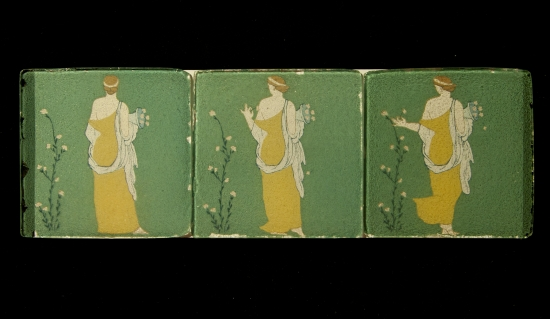 "Sequence of three glass ""slides"" from the Ancient Cinema exhibition."