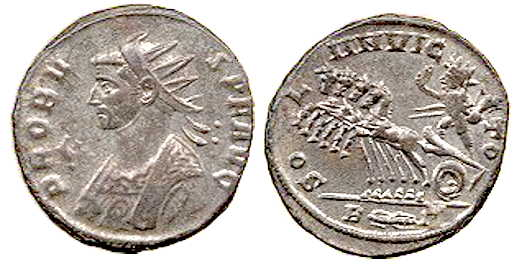 Coin of Emperor Probus, circa 280 AD, featuring Sol Invictus on the reverse.